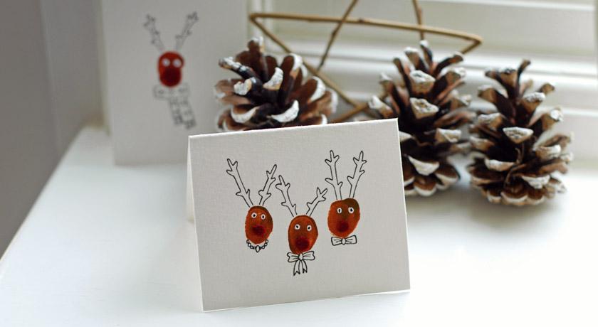 Thumb-print reindeer card.