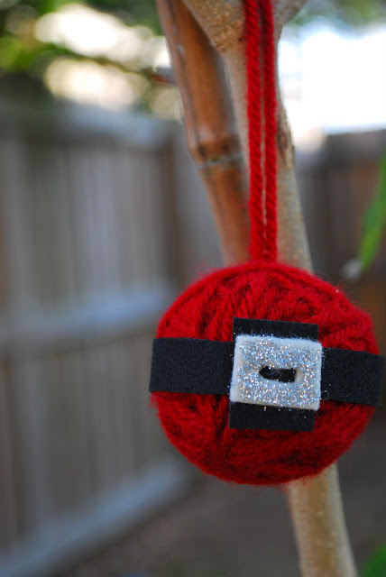 Yarn ball Santa Christmas ornament.