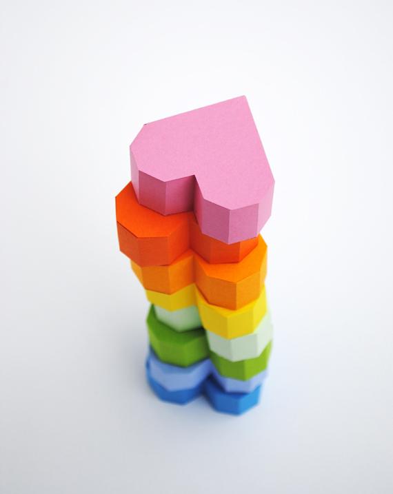 3D rainbow paper hearts.