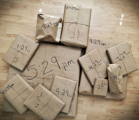 A bunch of gifts that he can only open at designated times.