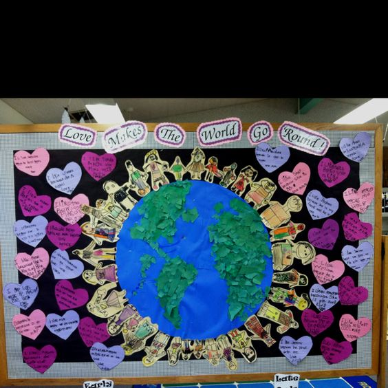Adorable Love Makes the World Go 'Round' bulletin board.