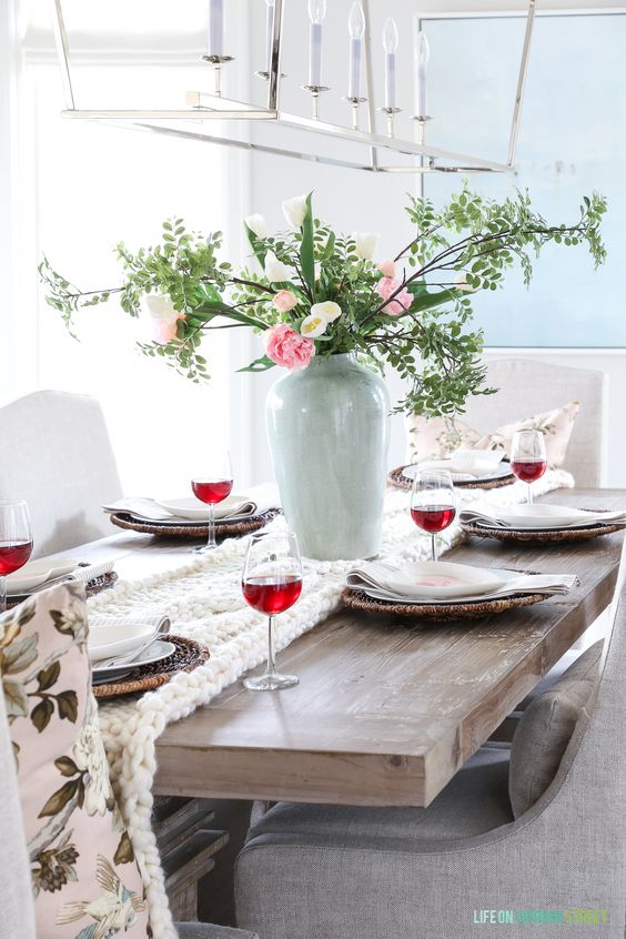 Adorable blush pinl valentines day table setting.