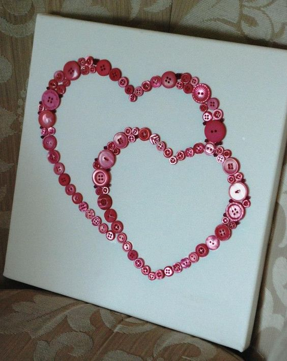 Adorable heart button craft.