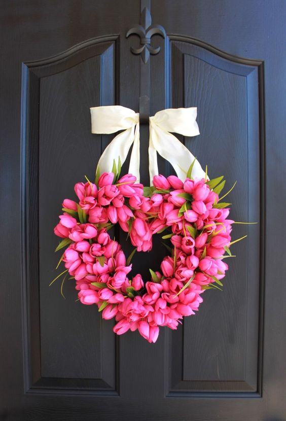 Adorable pink flower wreath for Valentines day home decor.