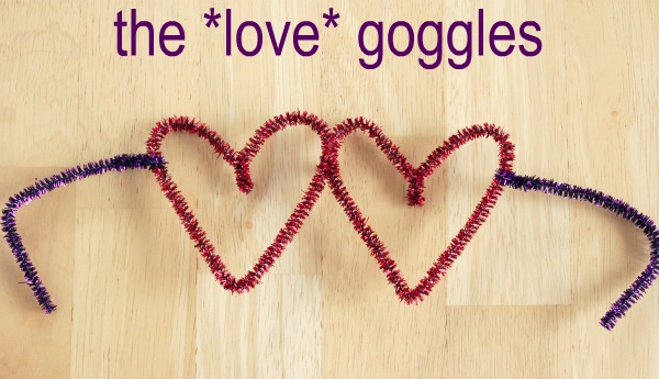 Adorable pipe cleaner love goggles.