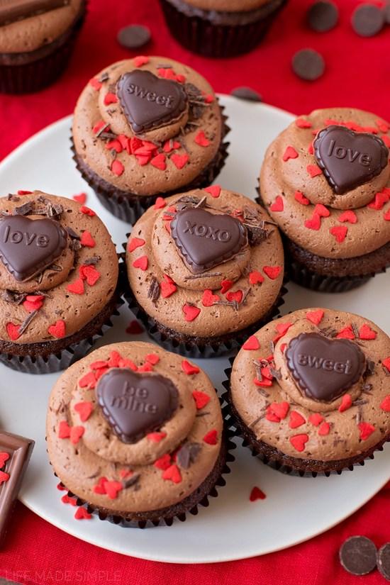 Amazing chocolate sweetheart cupcakes.