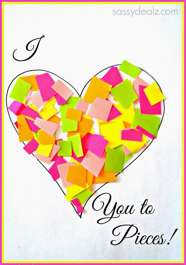 Amazing love you to pieces Valentines day card idea.