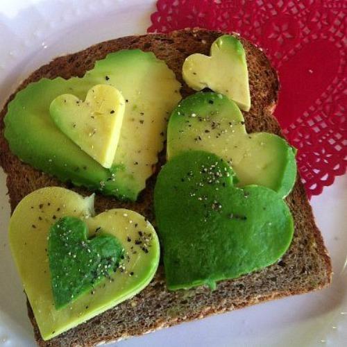 Avocado heart on toast.