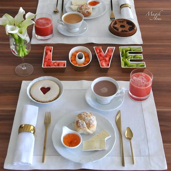 Awesome Valentine's day breakfast table setting.
