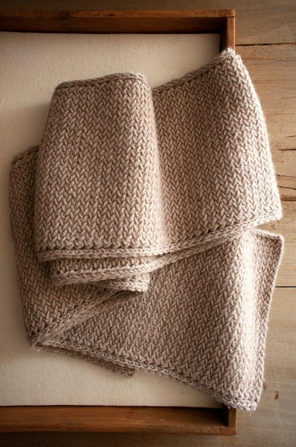Awesome knitted herringbone scarf.