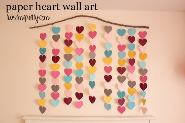Awesome paper heart wall decor.