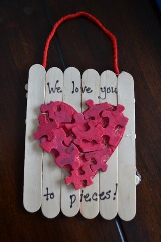 Awesome popsicle stick we love you to pieces puzzle heart craft.