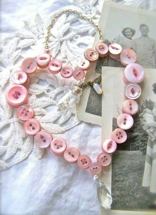 Baby pink button heart wreath.