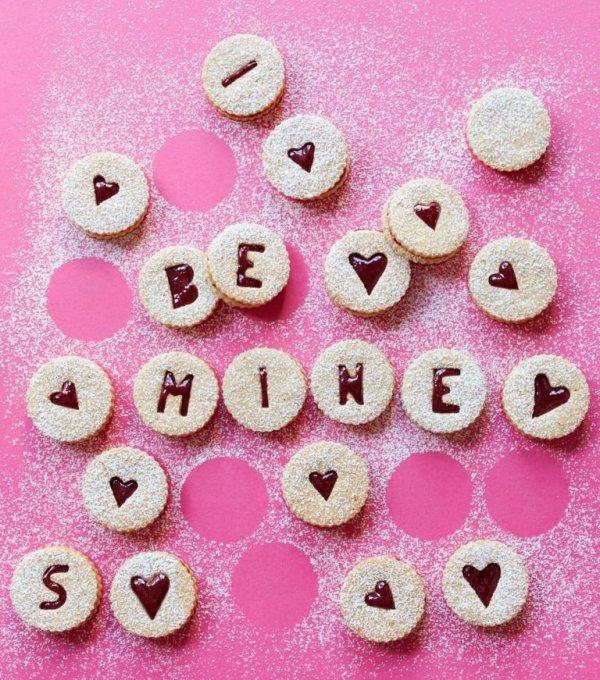 Be Mine sweet cherry linzer torte cookies.