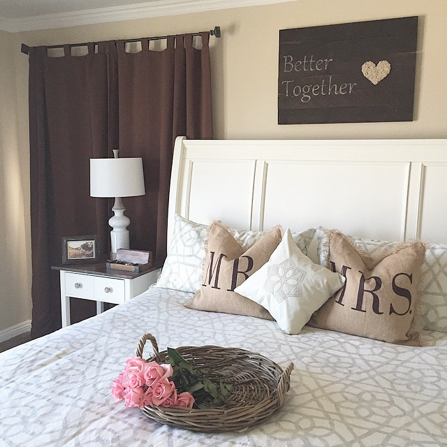 Be together love sign board on wall with Mr. & Mrs. pillows are perfect for Valentine's day.