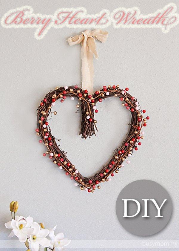 Beautiful berry heart wreath.