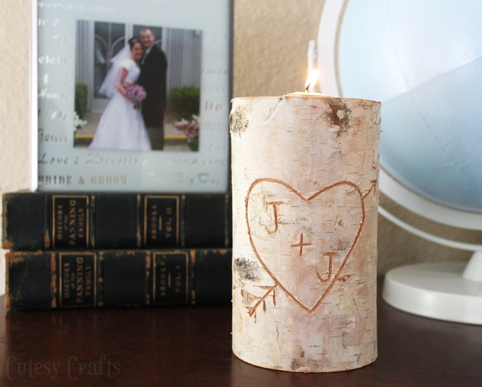 Beautiful birch pillar candle holder.