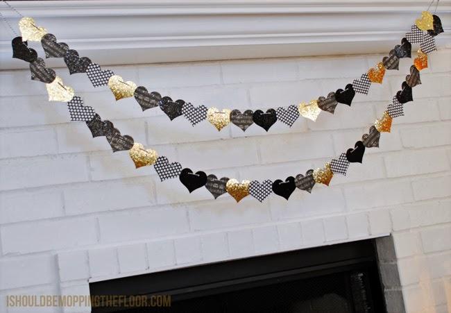 Beautiful glittery and graphic heart garland.