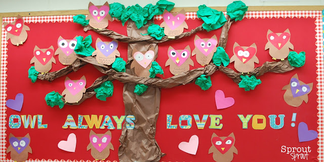 Beautiful owl always love you bulletin board decoration.