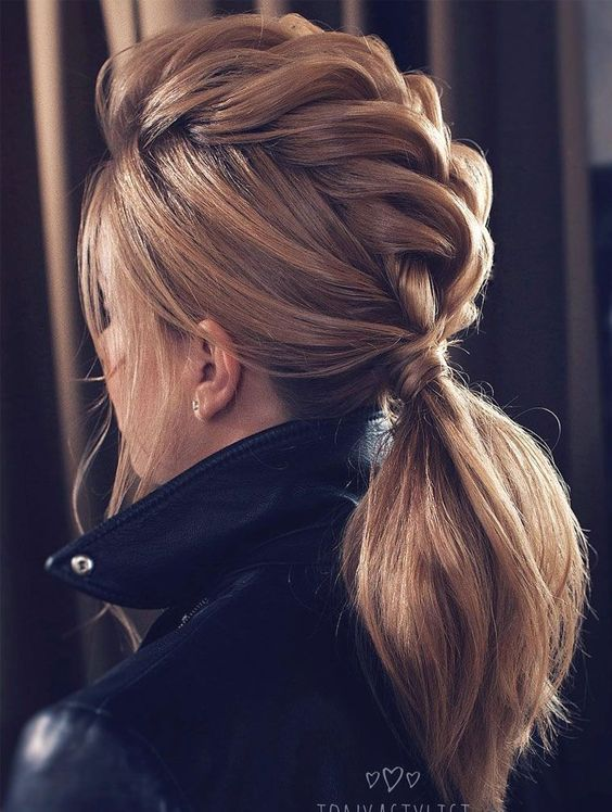 Beautiful pull through ponytail braid.