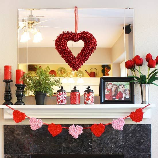 Beautiful red and pink Valentines day mantel decoration.