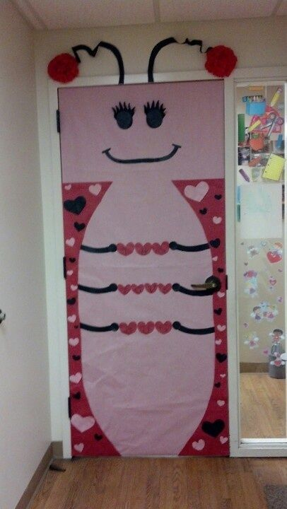 Big love bug on the door of classroom.