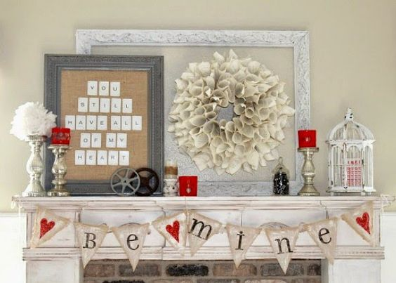 Blissful be mine Valentines day mantel decoration.