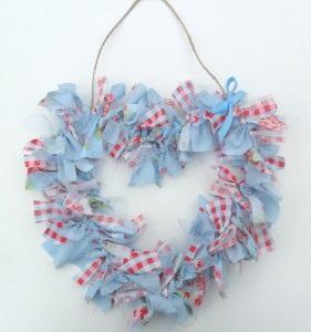 Blue heart shape rag wreath.