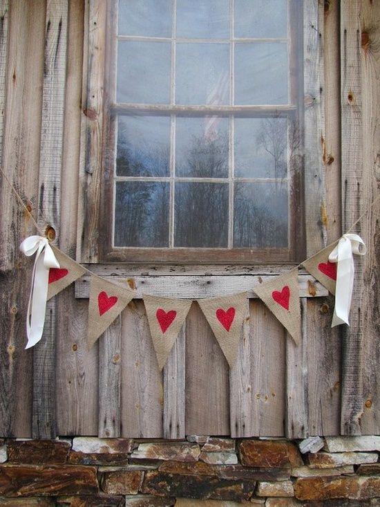 Boho inspire decor with burlap garland.