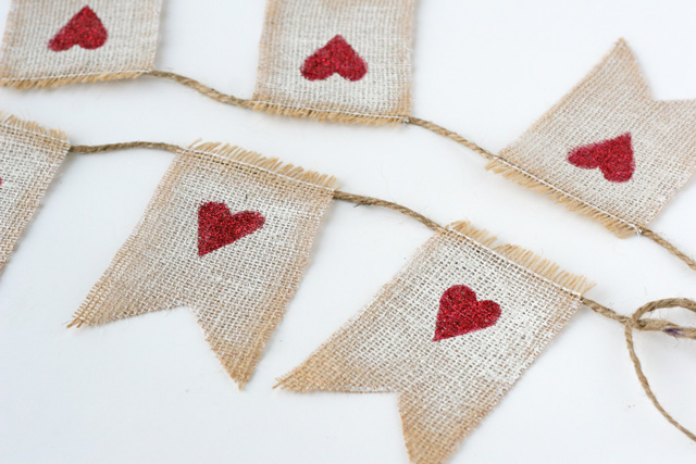 Burlap garland with heart stamp.