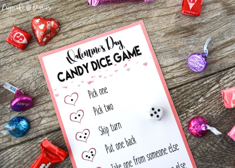 Candy dice game for Valentine's day.