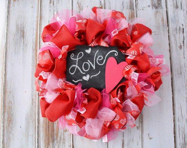 Chalkboard Valentine's day mesh wreath.