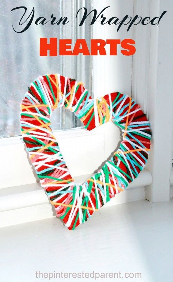 Charismatic yarn wrapped heart for home decor.