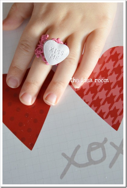 Charming conversation heart candy ring.