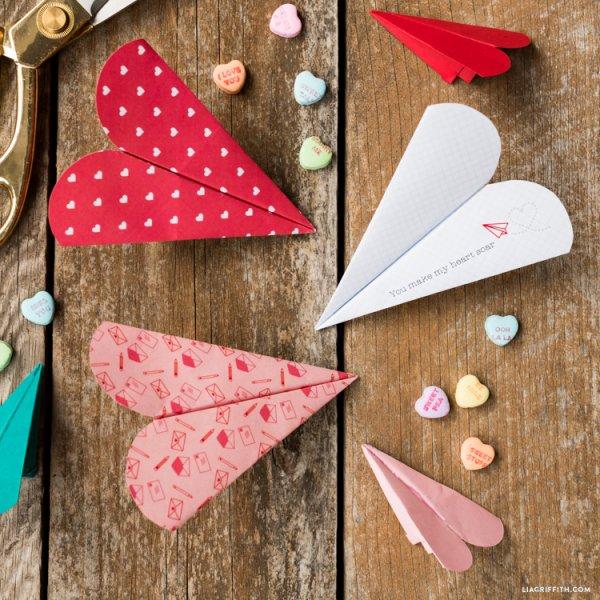 Charming heart paper plane.