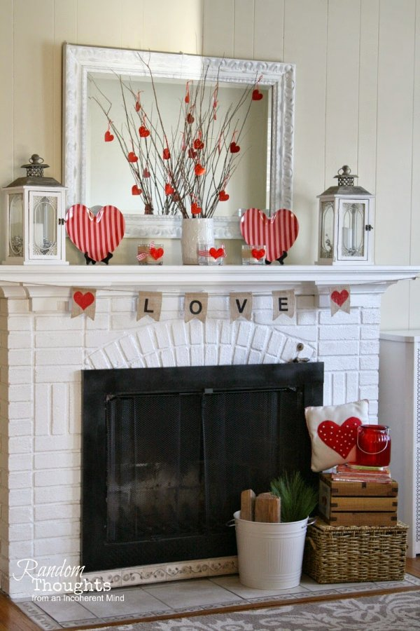 Charming mantel decor with heart sign.