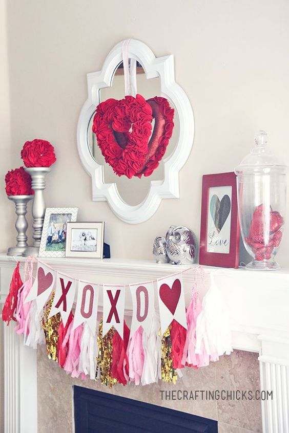 Charming red theme Valentine party decoration.