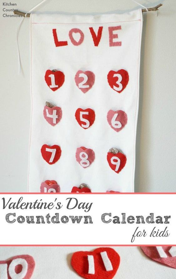 Charming reusable Valentine's day countdown for kids.