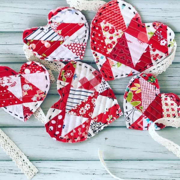 Cheerful heart bunting for Valentine's day.