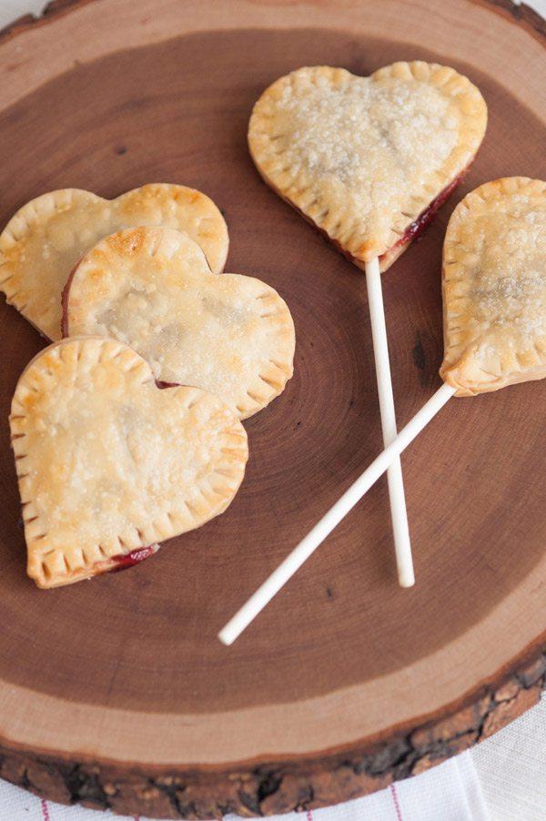 Cherry heart pie pops.