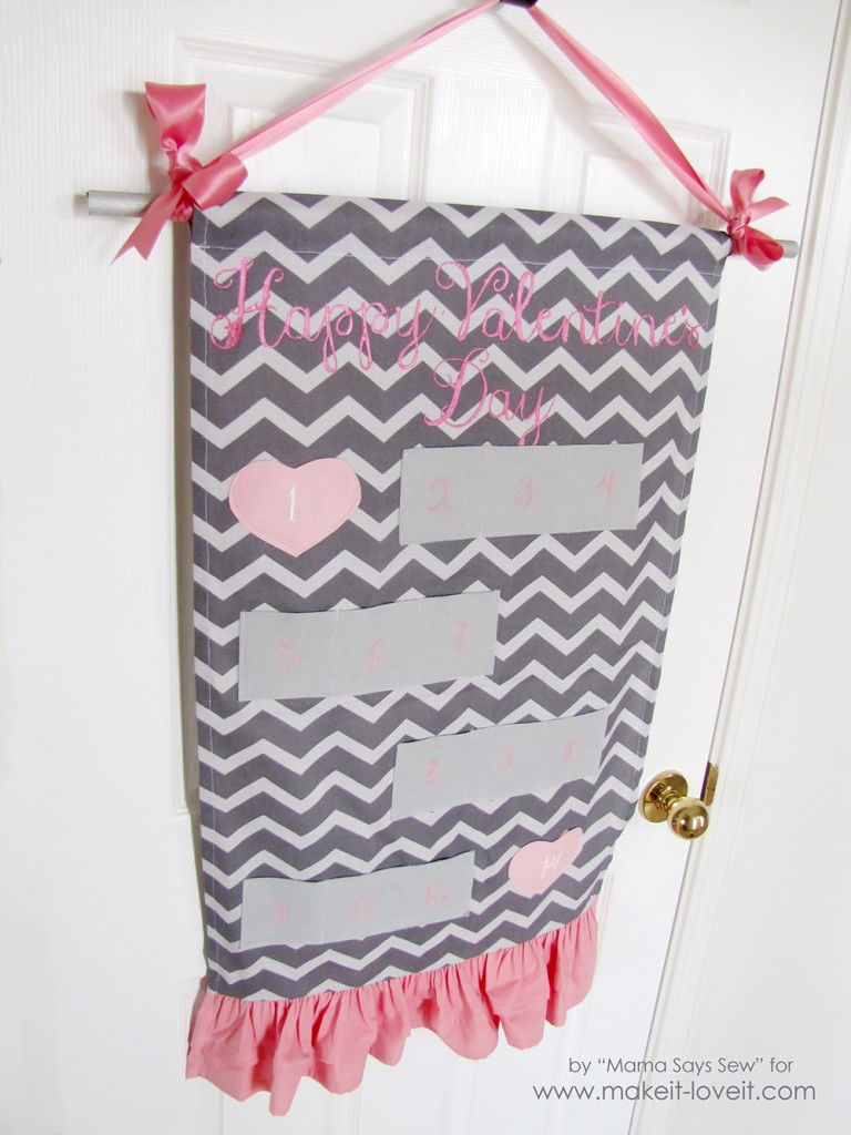 Chevron cloth with secret pockets useda as countdown calendar.