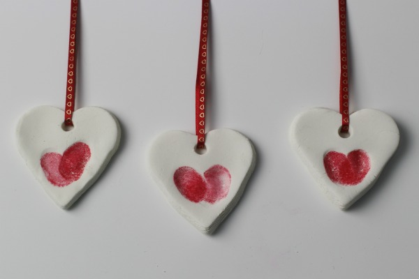 Chic finger print heart ornaments.