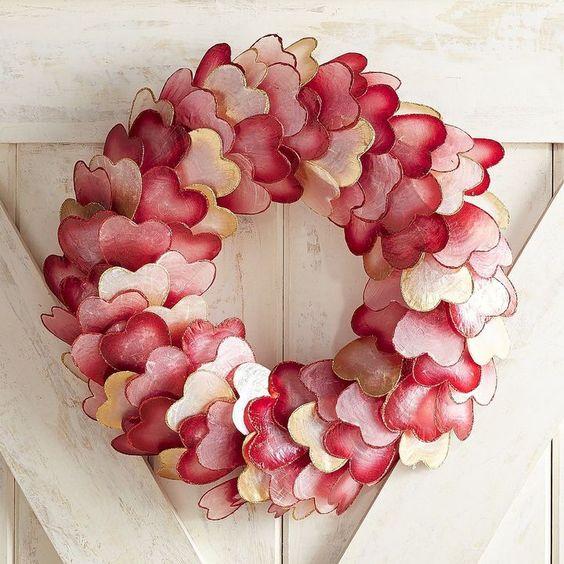 Chic ombre capiz heart wreath.