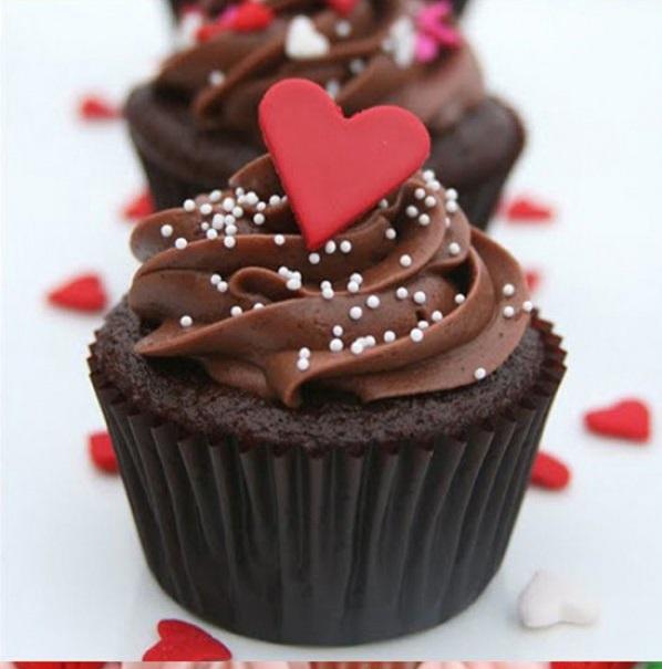 Chocolate cupcake with heart.