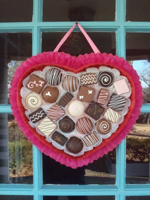 Chocolate heart wreath for V-day.