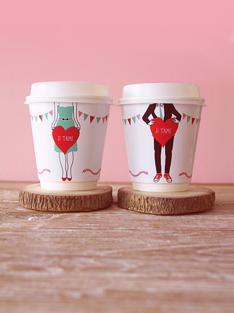Coffee cup wrapper for Valentines day.