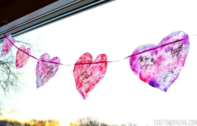 Coffee filter heart garland for Valentine's day.
