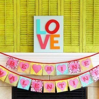 Colorful Valentine's day mantel decor idea.