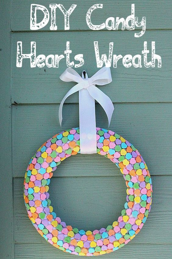 Colorful heart candy wreath for romantic day.