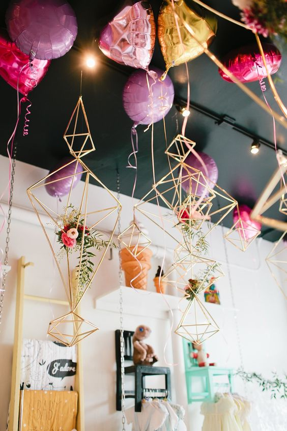 Contemporary home decor with balloons for Valentines day party.